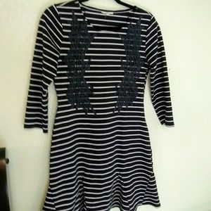 Mystree stripped embroidered flare dress 3/4 sleev